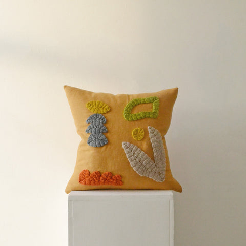 Hand Embroidered Cushion - Orange Garden - by Laurie Maun