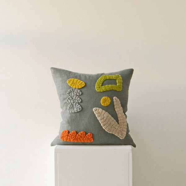 Hand Embroidered Cushion - Smokey Garden - by Laurie Maun