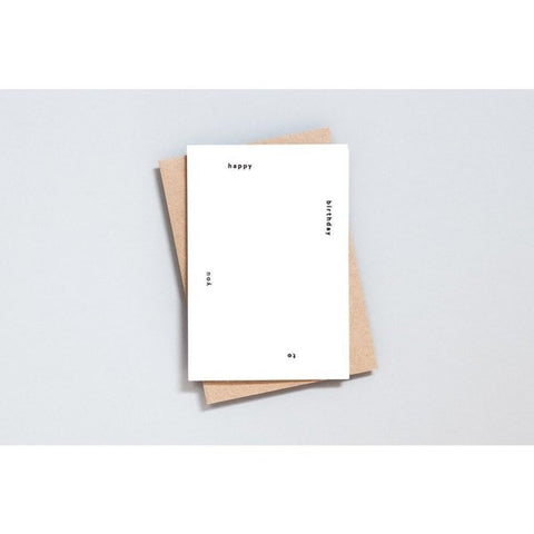 Foil Blocked Card, Happy Birthday Print in Natural/Black by ola