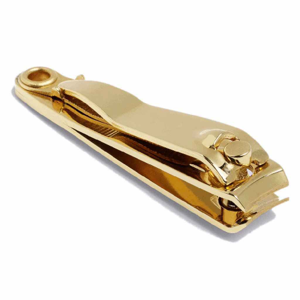Close up image of golden nail clippers by HAY
