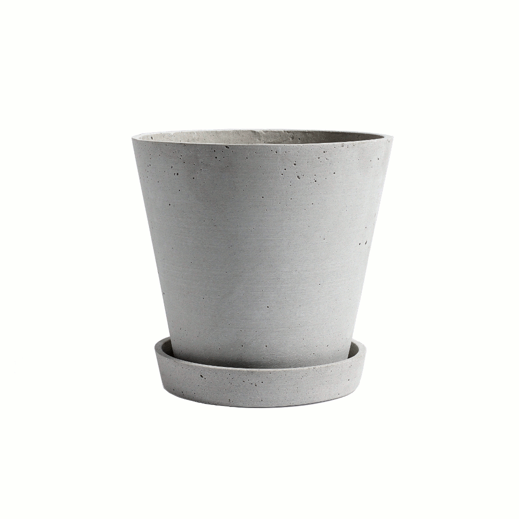 Flowerpot with saucer - XX LARGE - grey/concrete plant pot - polystone by HAY