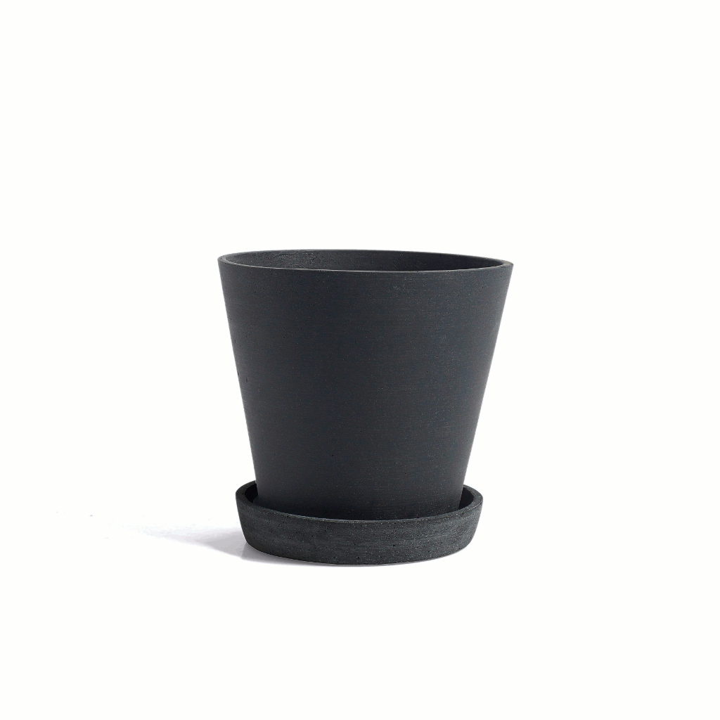 Flowerpot with saucer - LARGE - black plant pot - HAY polystone by HAY