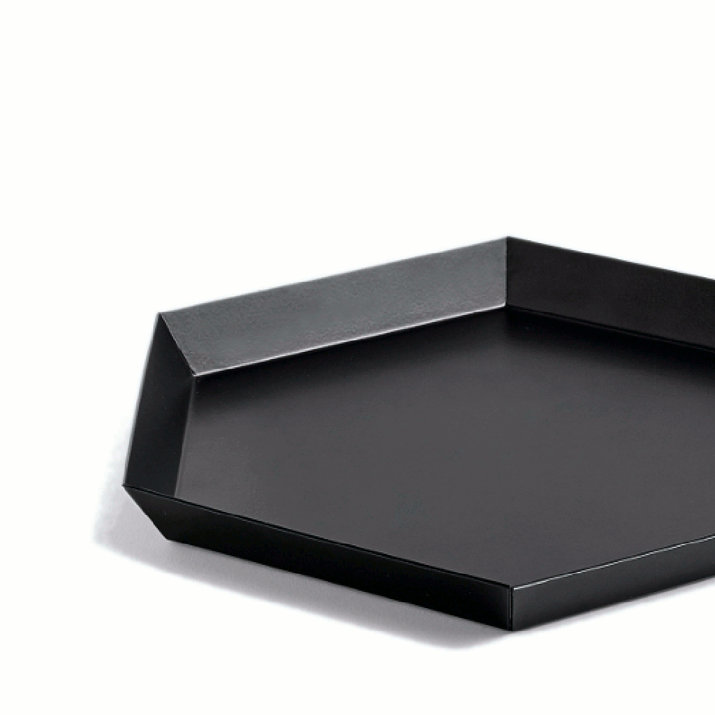 Close up image of Kaleido tray small in black by Hay
