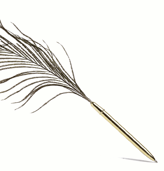 Peacock feather pen by HAY