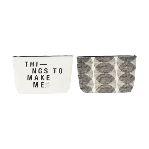 Make up / toiletries bag black white by House Doctor