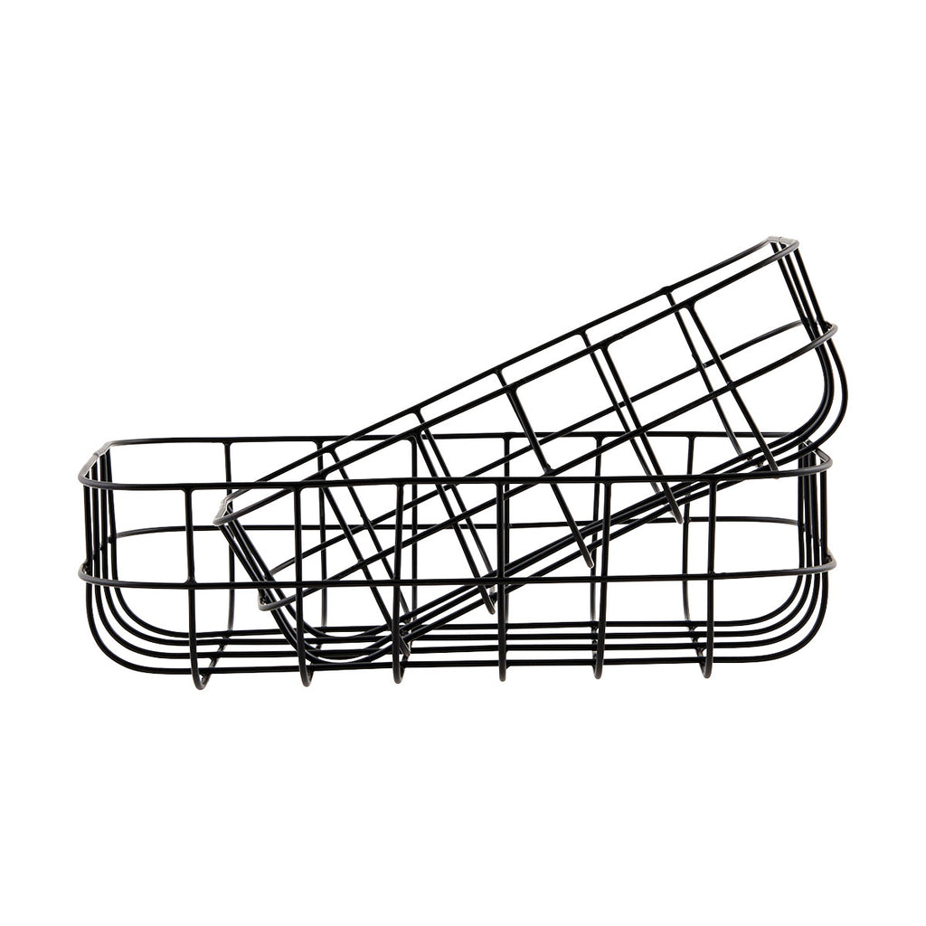 Set of 2 'simply' wire baskets in black by house doctor