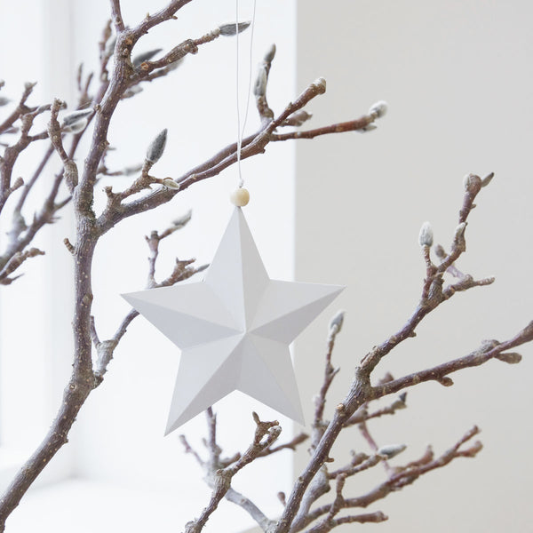 Ornament, Star, White, Paper 20 cm by House Doctor