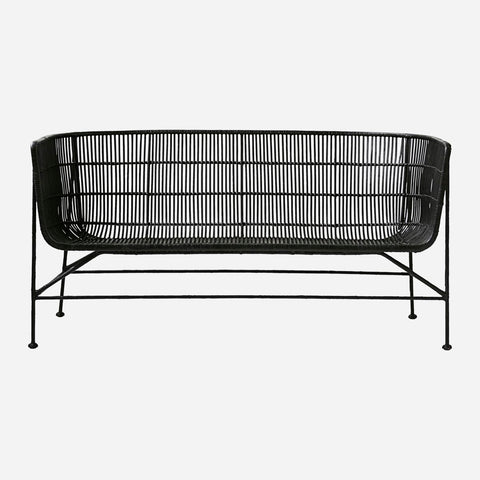 Cuun Two-Seater Woven Rattan chair in Black- by House Doctor