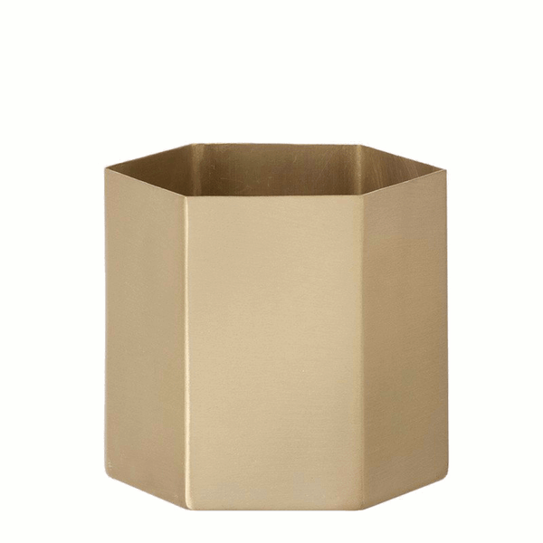 Hexagon brass planter/pot large by ferm LIVING