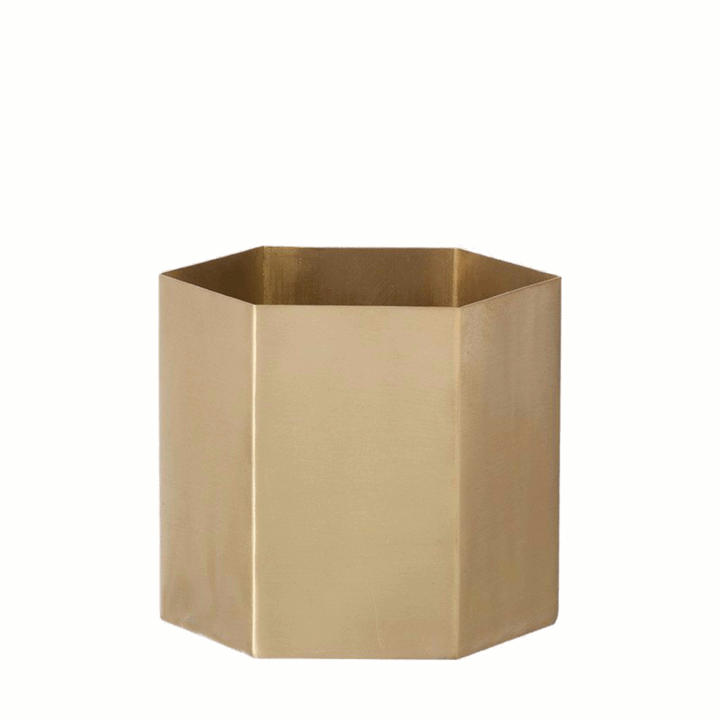 Hexagon brass planter/pot small by ferm LIVING