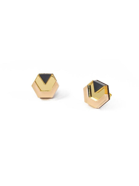 Little Hex studs in Peach/Gold/Navy by Wolf & Moon