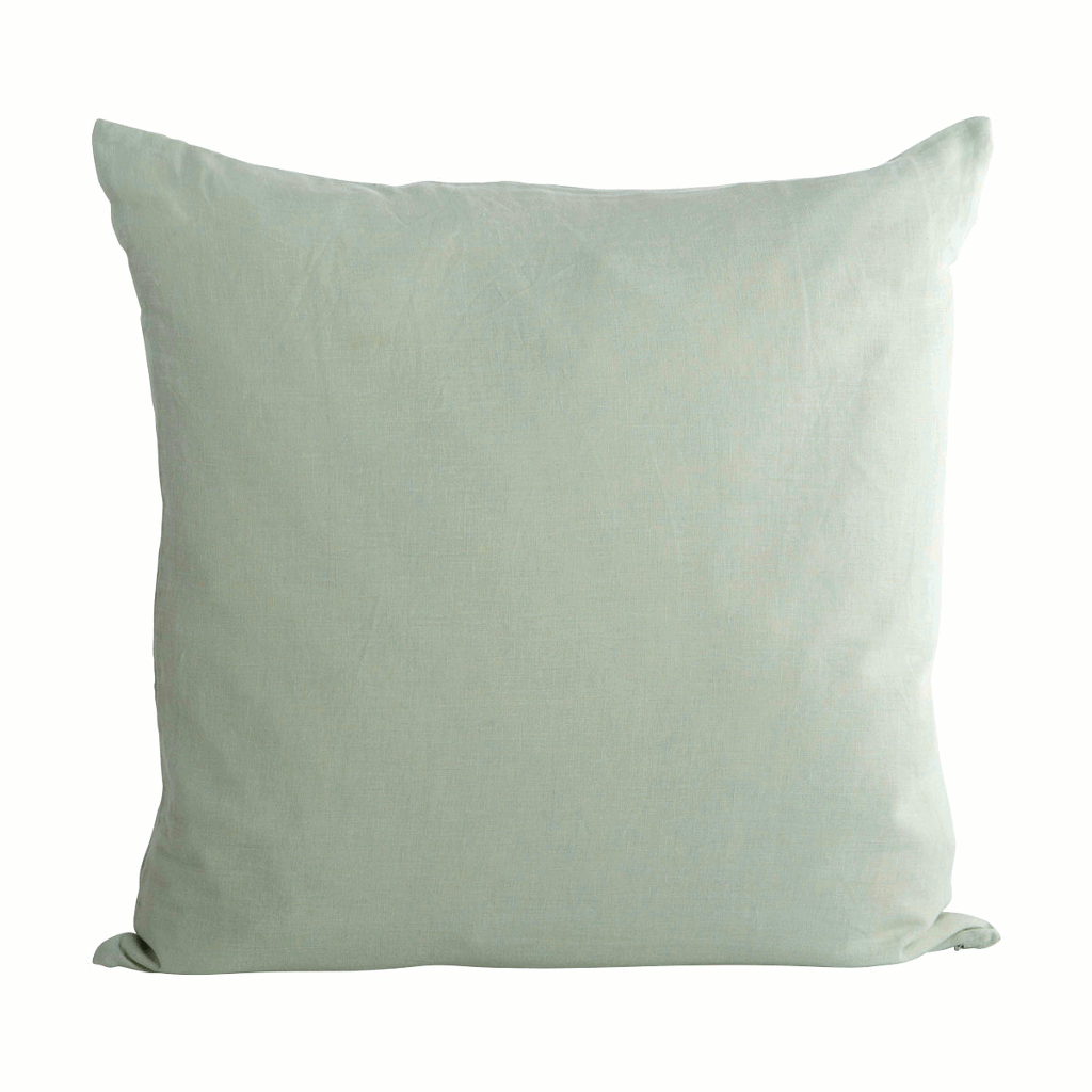Green linen cushion cover by House Doctor