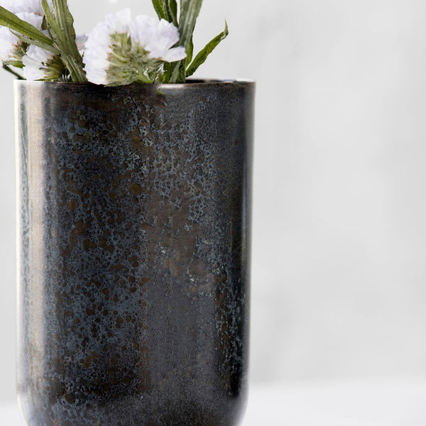 Image of grey/blue metal vase by House Doctor