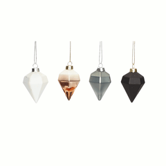 Decorations - set of 4 diamonds - grey/blacl/copper/white - Christmas by Hubsch