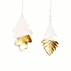 Leaf decoration, gold tipped, porcelain by Hubsch