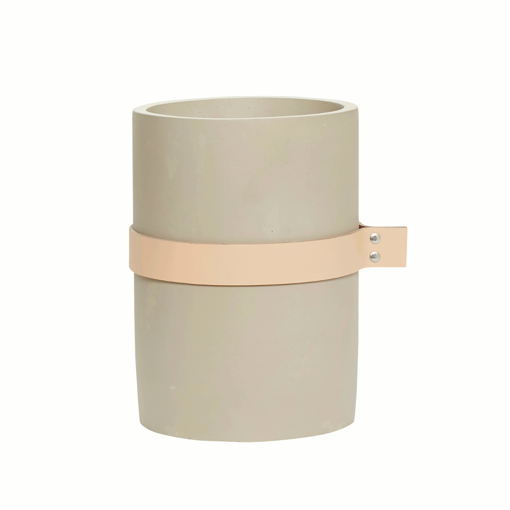 Large concrete vase with leather ribbon by Hubsch