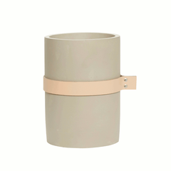 Vase with leather ribbon, large, concrete by Hubsch
