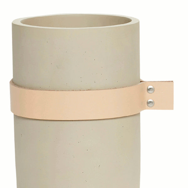 Small concrete vase with leather ribbon by Hubsch