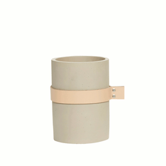 Vase with leather ribbon, small, concrete by Hubsch