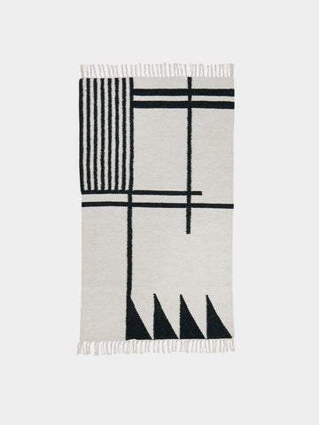 Kelim Rug Black Lines - Small - by ferm LIVING