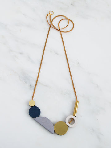 Composition II long necklace - Midnight Blue & Dove Grey by Wolf & Moon