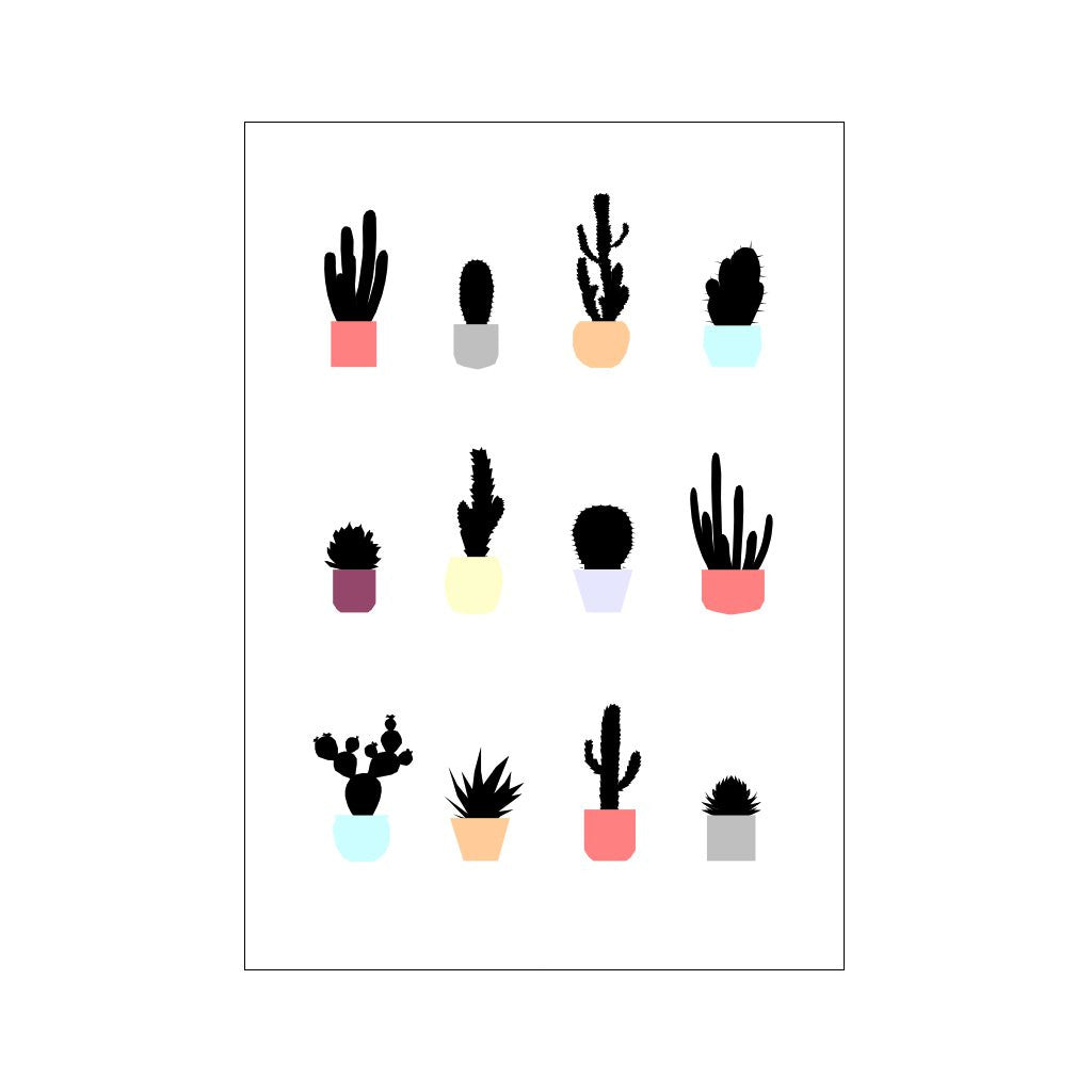 Cacti Colour Print A3 by Ingrid Petrie