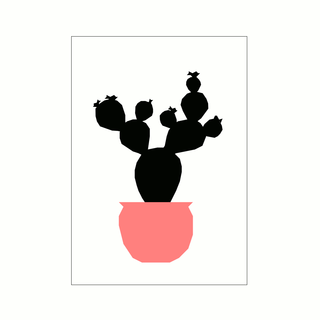 Potted Cactus A3 by Ingrid Petrie
