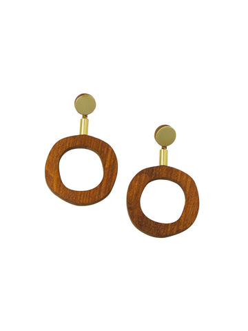 Jean I Earrings - Brass & Wood by Wolf & Moon