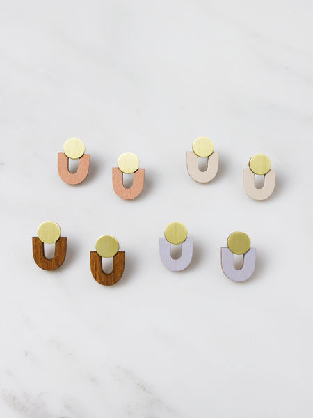 Jean Studs earrings - Brass & Wood by Wolf & Moon