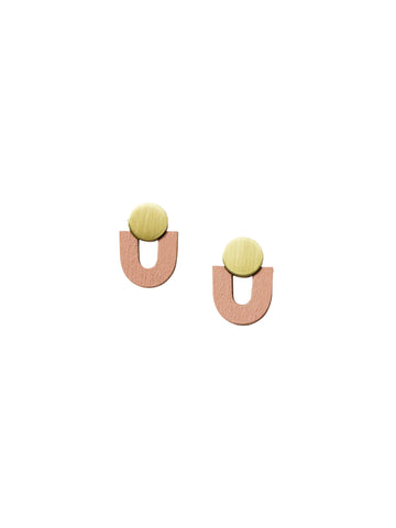 Jean Studs earrings - Brass & Blush Wood by Wolf & Moon