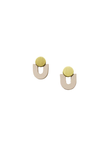 Jean Studs earrings - Brass & Ecru Wood by Wolf & Moon