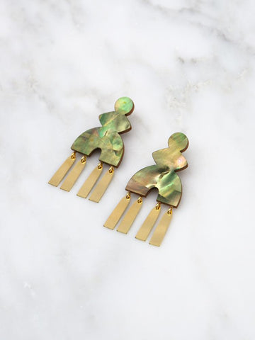 Kala Statement Earrings - Brass & Olive Mother of Pearl by Wolf & Moon