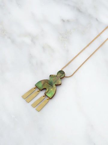 Kala Necklace - Brass & Olive Mother of Pearl by Wolf & Moon
