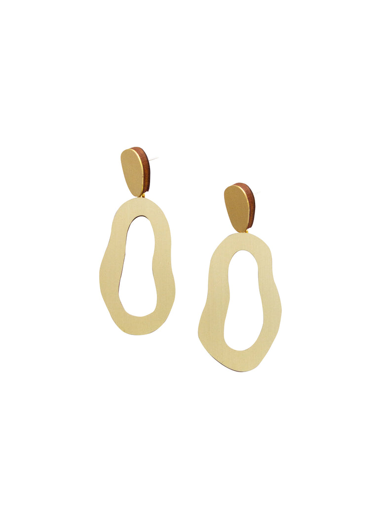 Lake earrings in Brushed Brass by Wolf & Moon