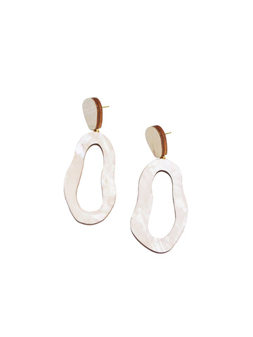 Lake earrings in Mother of Pearl by Wolf & Moon