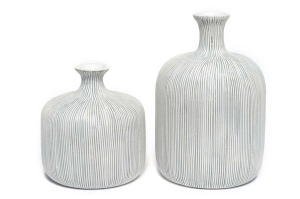 Bottle Vase in Stripe Grey Medium by Lindform
