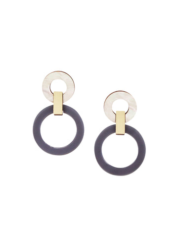 Lora I earrings in Navy & Mother of Pearl by Wolf & Moon
