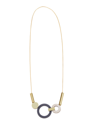 Lora statement necklace in Navy by Wolf & Moon