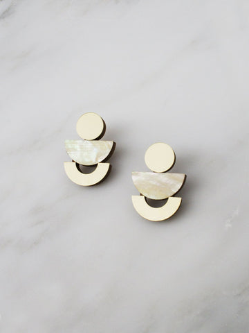Luna studs - Mother of Pearl & Brass by Wolf & Moon