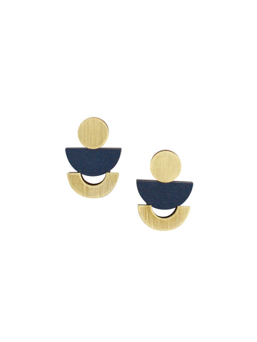 Luna studs - Midnight Blue & Brass by Wolf & Moon