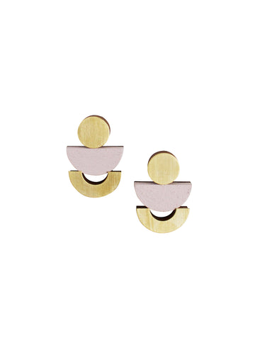 Luna studs - Powder Pink & Brass by Wolf & Moon