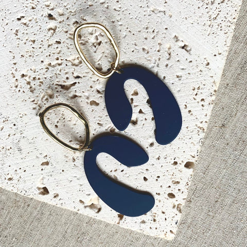 Blue and Brass Margot Earrings by Little Nell