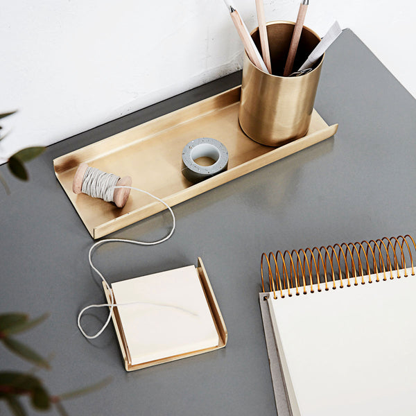 Stationery organiser / desk tray in gold - Monograph by House Doctor
