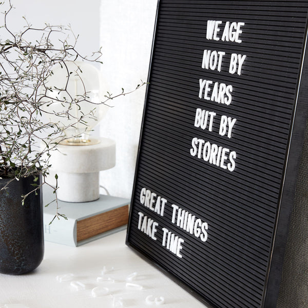 Letter Board in black with letters by House Doctor