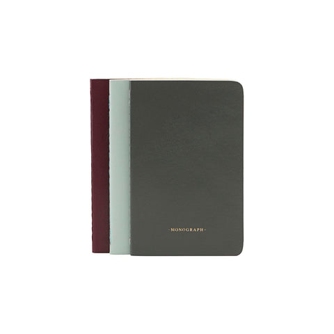 Set of 3 ruled notebooks - Green / Grey / Burgundy - Monograph by House Doctor