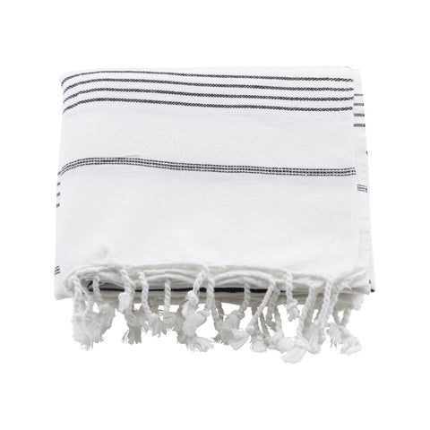 Hammam towel - white with black stripe  by Meraki