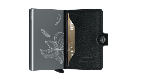 Miniwallet in Stitched Magnolia Black Leather by Secrid Wallets