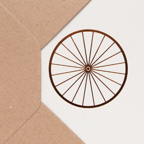 Close up image of Bicycle Wheel Card Stone/Copper by ola