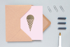 Context image of Ola Ice cream cone card in Pink and Brass