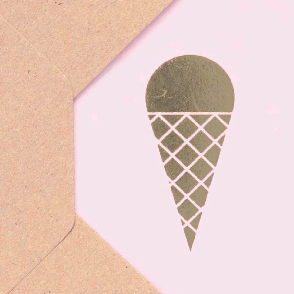 Close up image of Ola Ice cream cone card in Pink and Brass